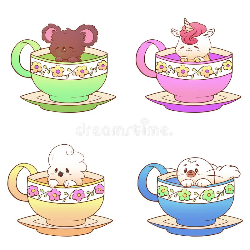 Nettes kleines lustiges kawaii Tierkoala, Papagei, Robbe, Einhorn, Haustierillustration in einem TeeKaffeetasse-Karikaturvektor-D vektor abbildung