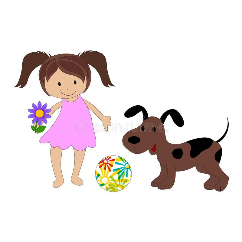 Nettes kleines Mädchen und ihr Welpe lizenzfreie abbildung