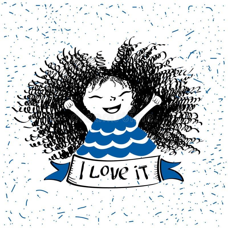 Nettes kleines Mädchen Band mit den Wörtern liebe ich es Modeillustration für Kinder-Kleidung lizenzfreie abbildung