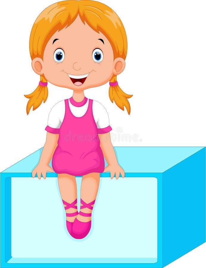 Nettes kleines Mädchen, das auf einem rechteckigen sitzt vektor abbildung