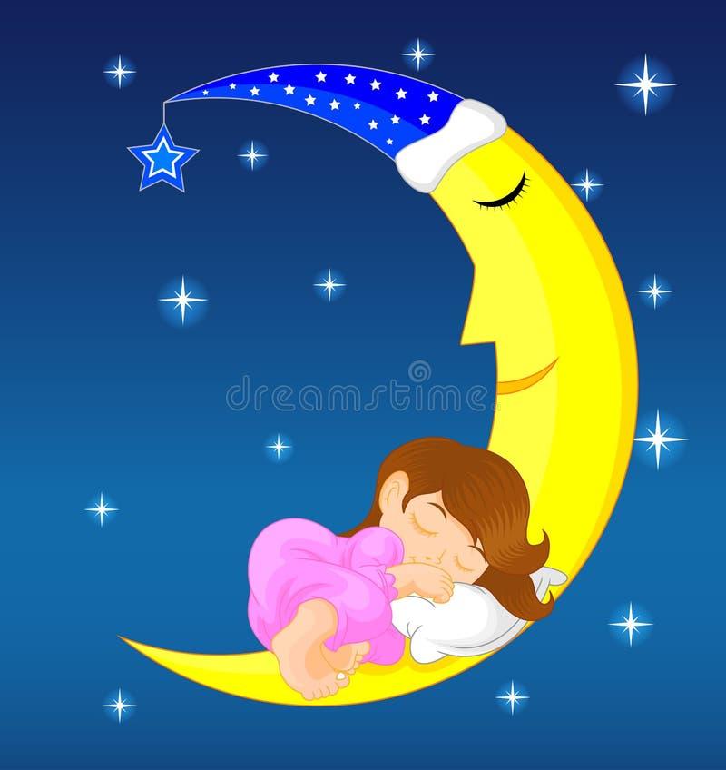 Nettes kleines Mädchen, das auf Mond schläft lizenzfreie abbildung