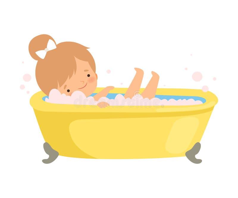 Nettes kleines Mädchen, das Bad in der Badewanne voll vom Schaum, entzückendes Kind im Badezimmer, tägliche Hygiene-Vektor-Illust vektor abbildung