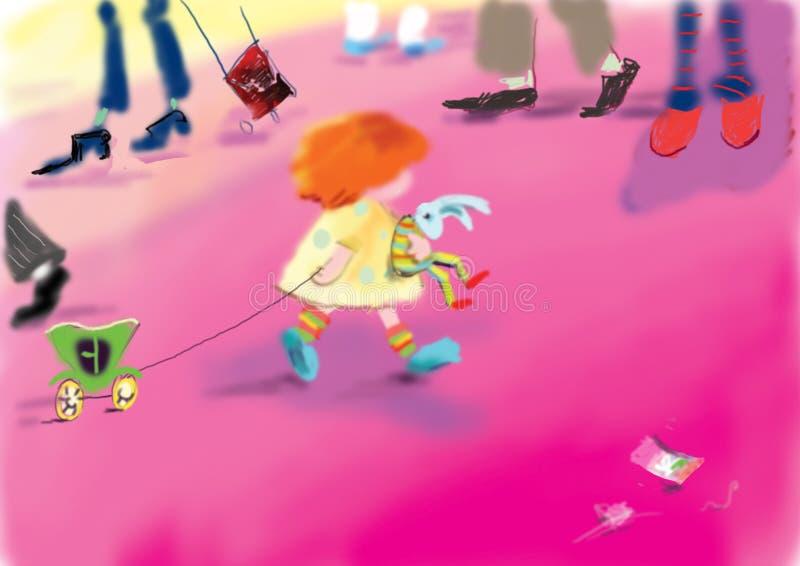 Nettes, kleines Mädchen, das ein Spielzeugkaninchen trägt lizenzfreie abbildung