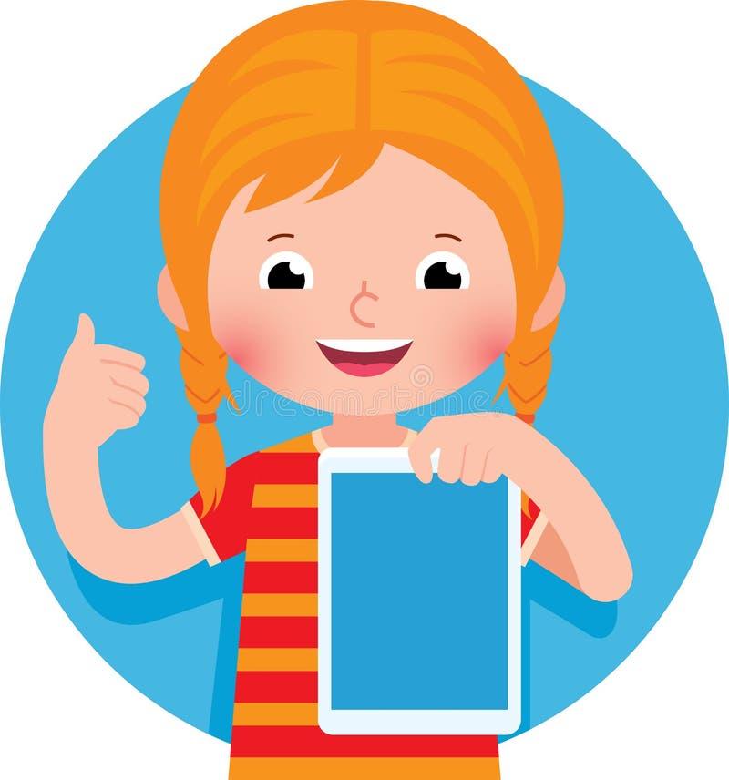 Nettes nettes kleines Mädchen, das eine Computertablette in ihrer Hand hält vektor abbildung
