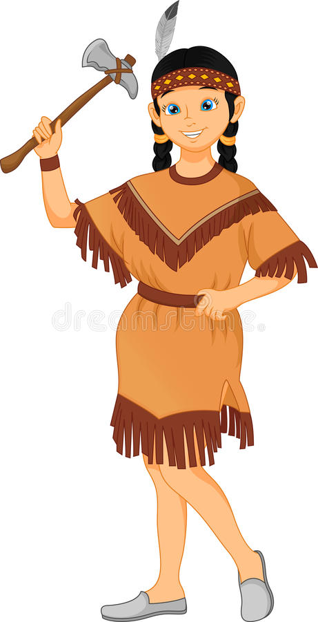 nettes kleines Mädchen, das gebürtiges indianisches Stammkostüm trägt lizenzfreie abbildung