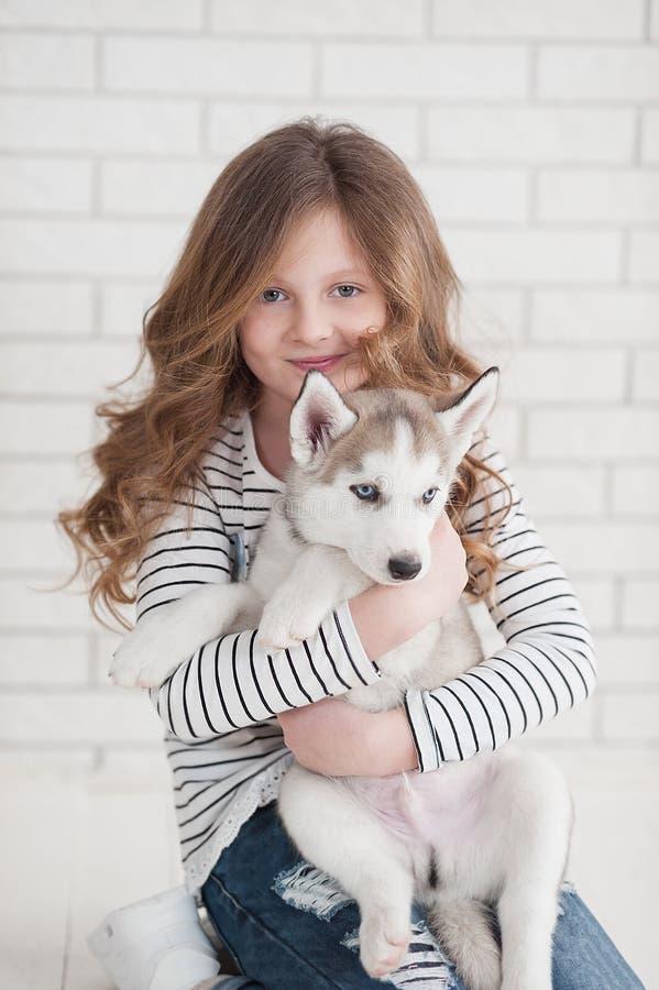 Nettes kleines Mädchen, das heiseren Welpen auf einem weißen Hintergrund umarmt stockfotos