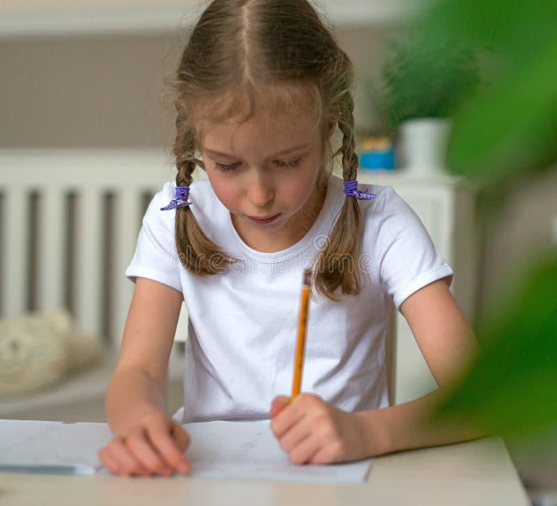 Nettes kleines Mädchen, das ihre Hausarbeit tut stockbilder