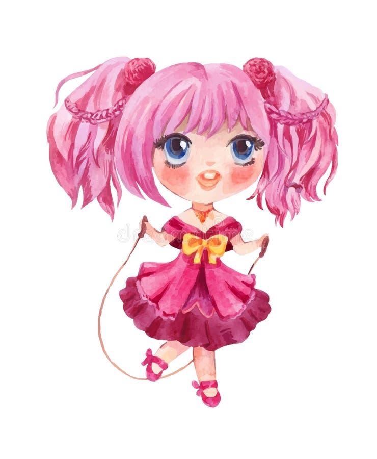 Nettes kleines Mädchen, das mit Seil springt Vektor von Hand gezeichnetes manga styl lizenzfreie abbildung