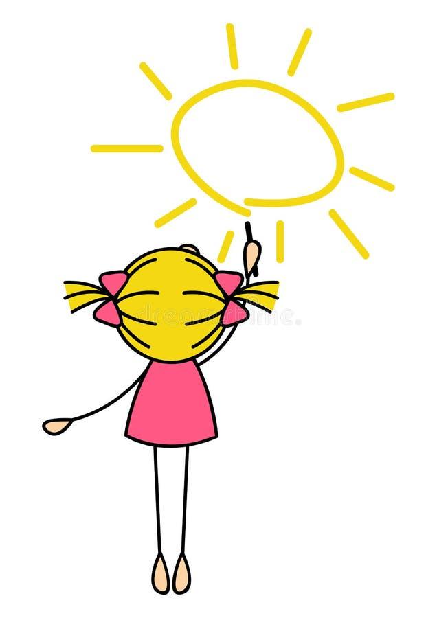 Nettes kleines Mädchen, das Sun zeichnet lizenzfreie abbildung