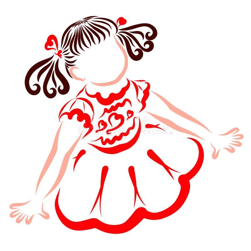 Nettes kleines Mädchen in einem intelligenten roten Kleid, mit doppelten Endstücken lizenzfreie abbildung