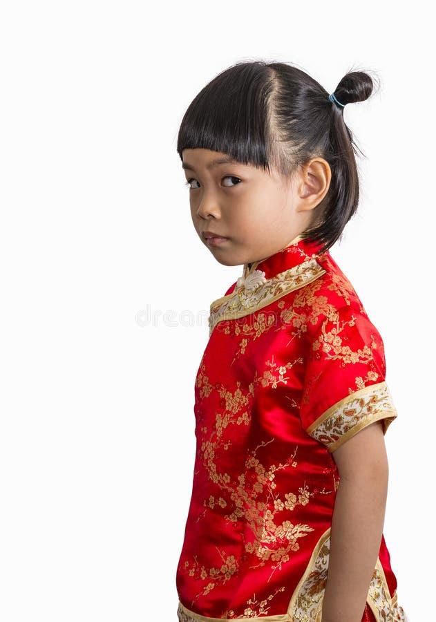 Nettes kleines Mädchen im Chinesekleid lizenzfreie stockfotografie