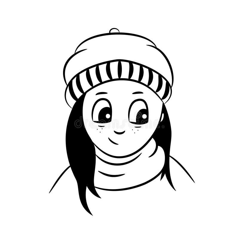 Nettes kleines Mädchen im Hut und im Schal stockfotos