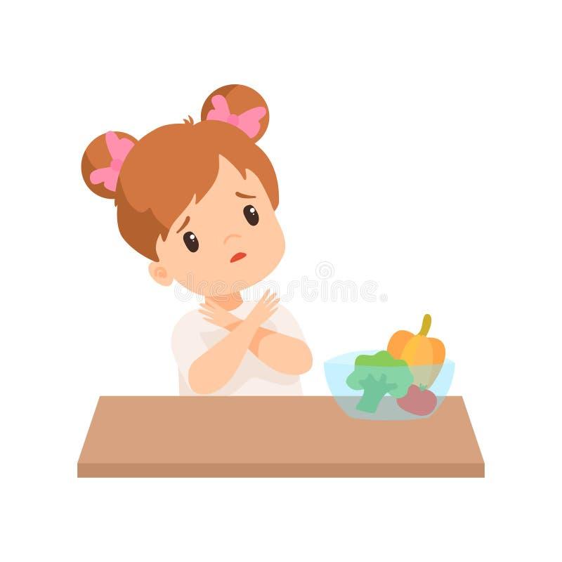 Nettes kleines Mädchen möchte nicht Gemüse essen, scherzen die Ablehnung, gesunde Nahrungsmittelvektor-Illustration zu essen vektor abbildung