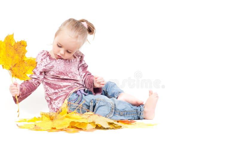 Nettes kleines Mädchen mit Ahornblättern lizenzfreies stockfoto