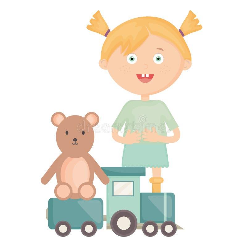 Nettes kleines Mädchen mit Bärnteddybären und -zug vektor abbildung