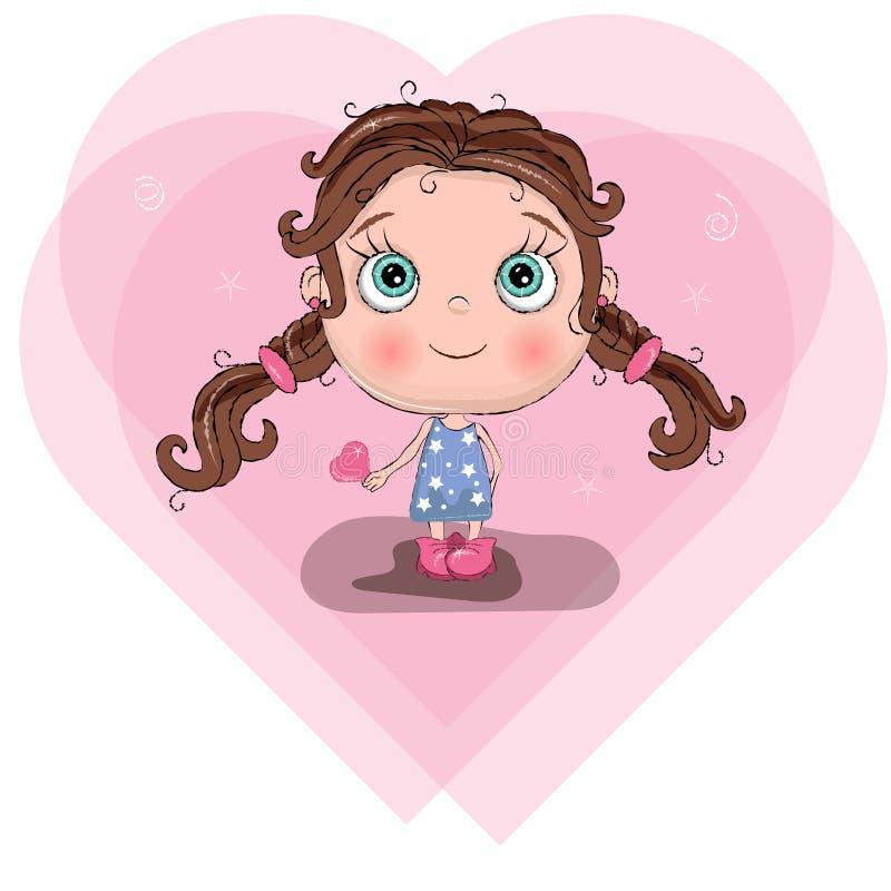Nettes kleines Mädchen mit blauem Kleidergriffhirsch, entzückender Babykarikaturhintergrund San-Valentinsgrußtagesgrußkarte Vekto vektor abbildung