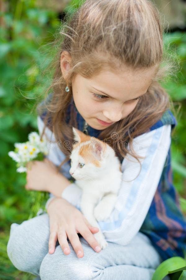 Nettes kleines Mädchen mit einem Blumenstrauß von Gänseblümchenblumen und von kleiner Katze auf ihren Händen lizenzfreie stockfotografie