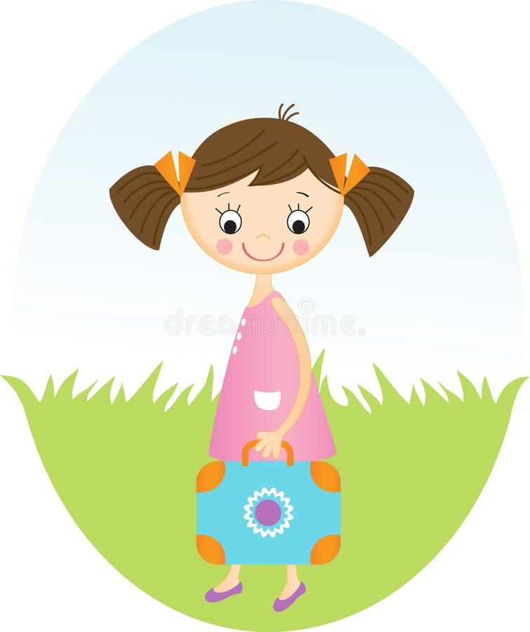 Nettes kleines Mädchen mit Koffer stock abbildung