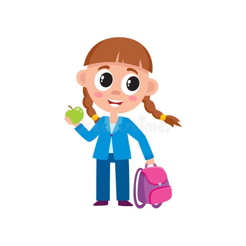 Nettes kleines Mädchen mit Rucksack kleidete für Schule an vektor abbildung