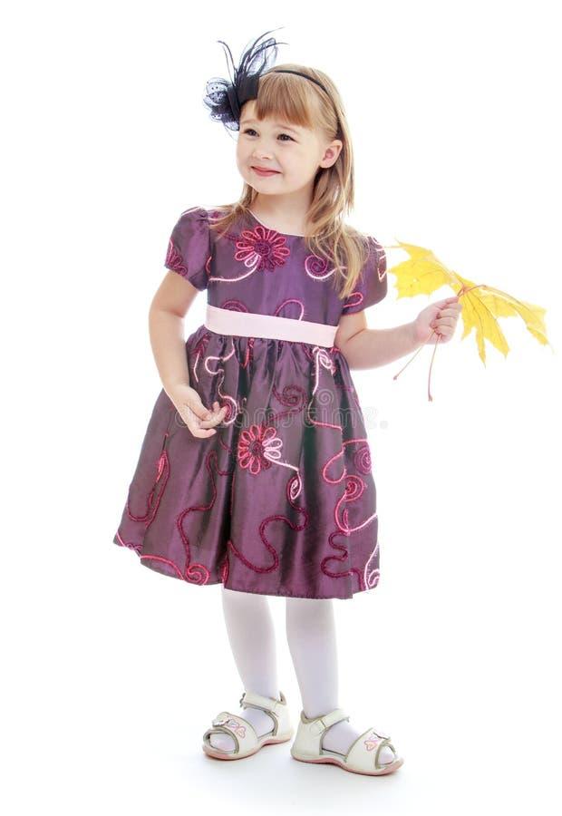 Nettes kleines Mädchen sammelt gelbe Ahornblätter lizenzfreie stockfotos