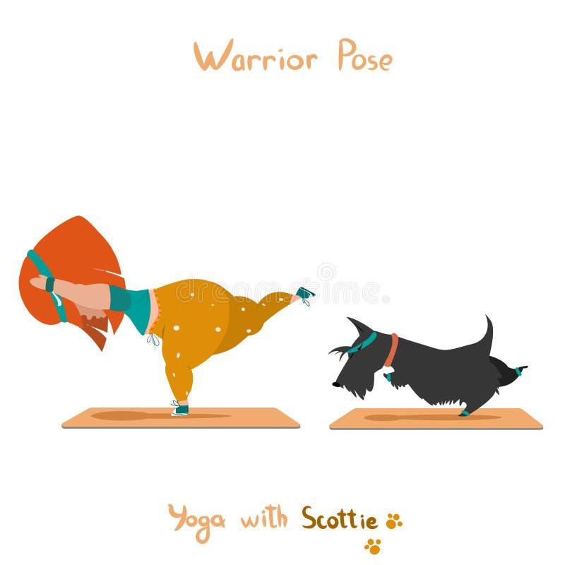 Nettes kleines Mädchen und ihr Hundscottie, die Yoga tut lizenzfreies stockbild