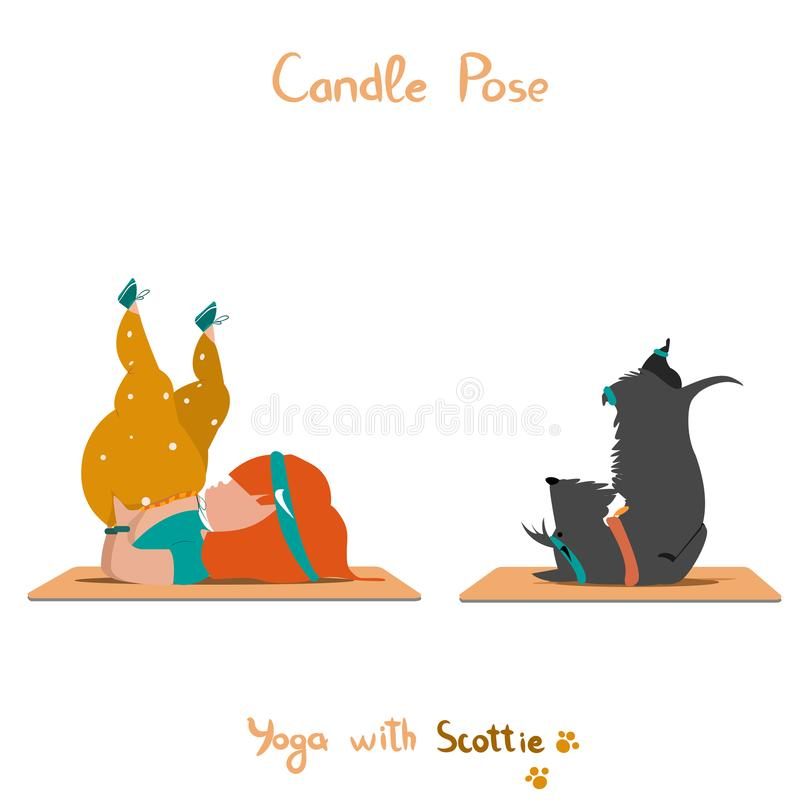 Nettes kleines Mädchen und ihr Hundscottie, die Yoga tut lizenzfreie stockfotos