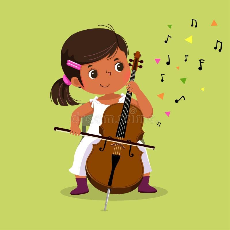 Nettes kleines Mädchen, welches das Cello auf grünem Hintergrund spielt vektor abbildung