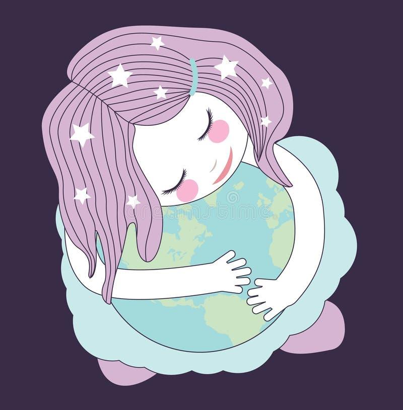 Nettes kleines Mädchen, welches die Kugel umarmt das Konzept des Interessierens für die Planetenerde Sorgfalt für die Umwelt das  vektor abbildung