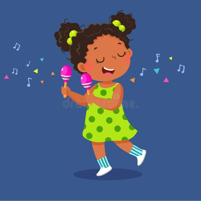 Nettes kleines Mädchen, welches die maracas auf blauem Hintergrund spielt stock abbildung