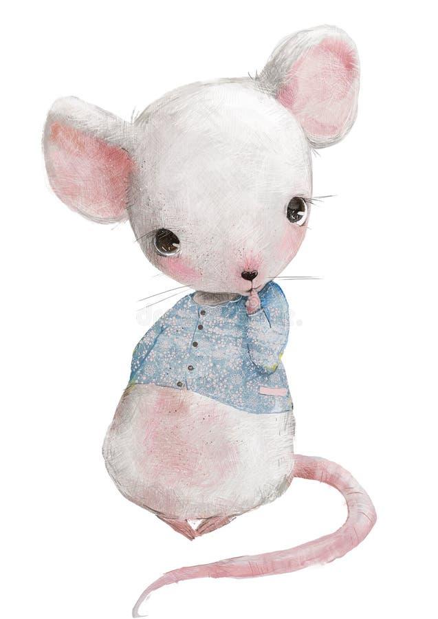 Nettes kleines Mäusemädchen mit blauer Strickjacke stockbilder