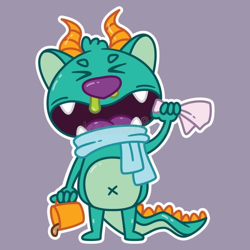 Nettes kleines Monster, das geht zu niesen lizenzfreies stockbild