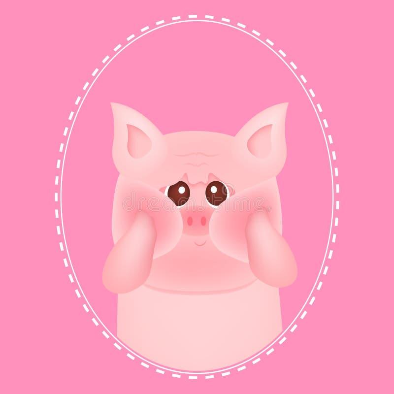 Nettes kleines Schwein mit roten Backen, auf rosa Hintergründen F?r Babykarte und -einladung Auch im corel abgehobenen Betrag stock abbildung
