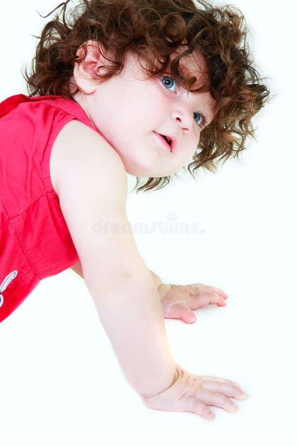 Nettes Kleinkind über Weiß lizenzfreie stockfotografie