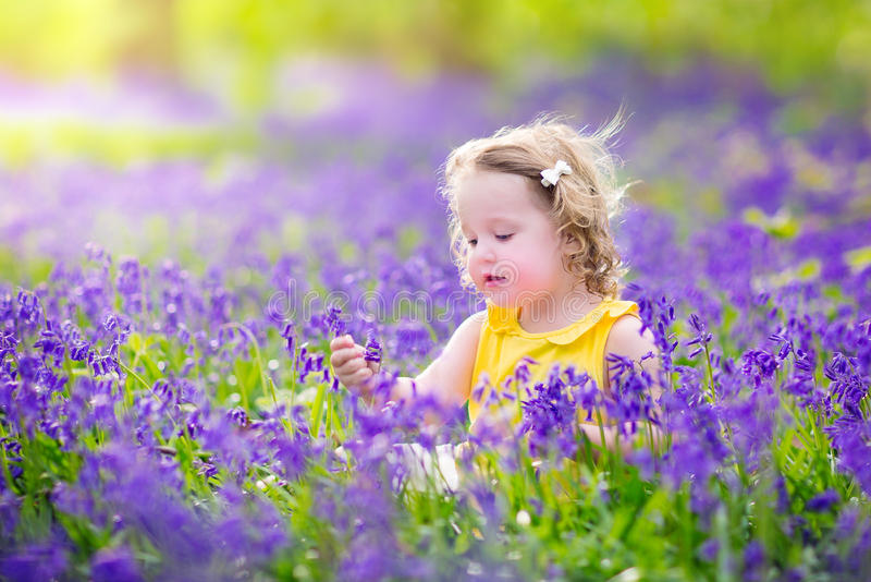 Nettes Kleinkindmädchen in der Glockenblume blüht im Frühjahr lizenzfreie stockfotos
