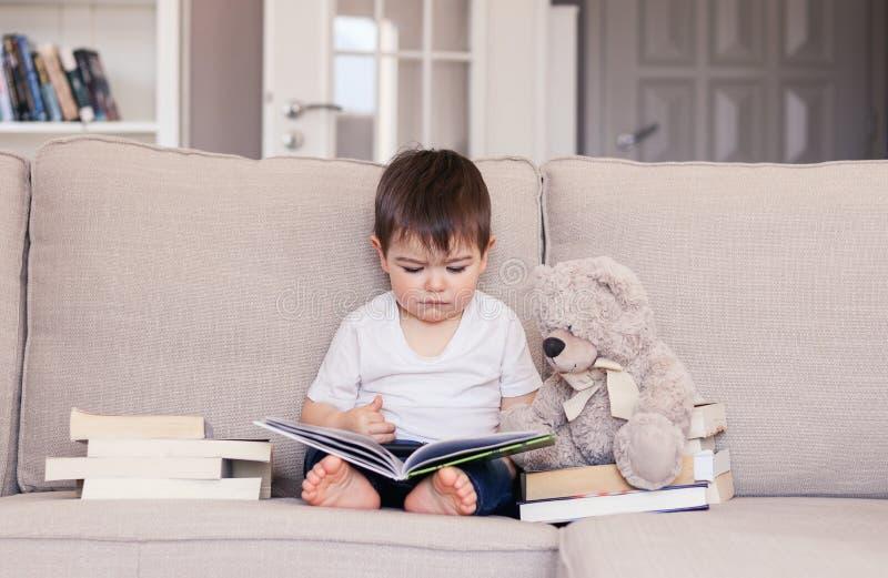 Nettes kluges kleines Baby scharf über das Lesebuch, das zu Hause auf Sofa mit Teddybärspielzeug und Stapel von Büchern sitzt lizenzfreie stockfotografie
