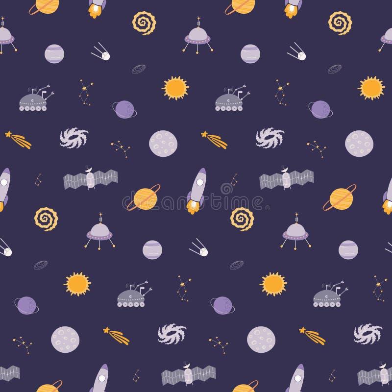 Nettes kosmisches nahtloses Muster stock abbildung