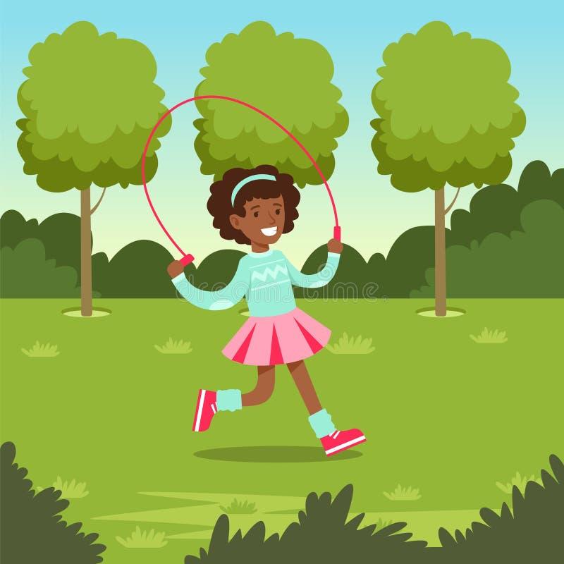 Nettes lächelndes afrikanisches Mädchen, das mit Springseil im Park, im Freien Vektorillustration der Kindertätigkeit springt stock abbildung