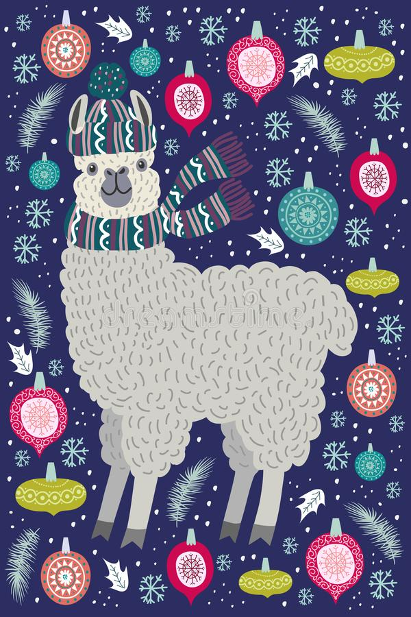 Nettes Lama umgeben durch Weihnachtsbaumspielwaren, Schablone für Karte und Ihren Entwurf vektor abbildung