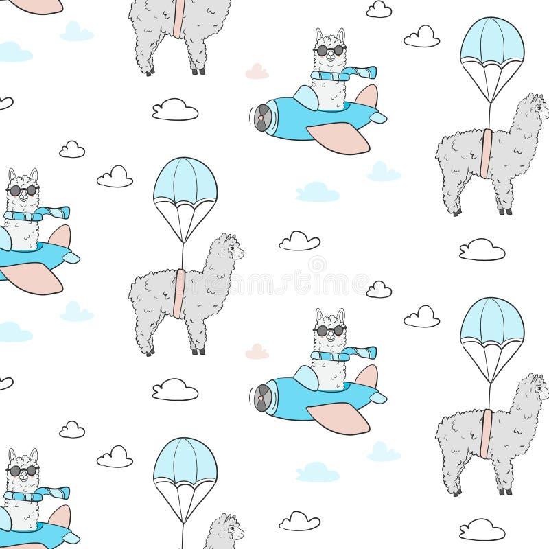 Nettes Lamafliegenmuster Textilstoffillustration mit Versuchsalpaka mit Fallschirm Kindischer Druck für Gewebe, T-Shirt, Plakat lizenzfreie abbildung