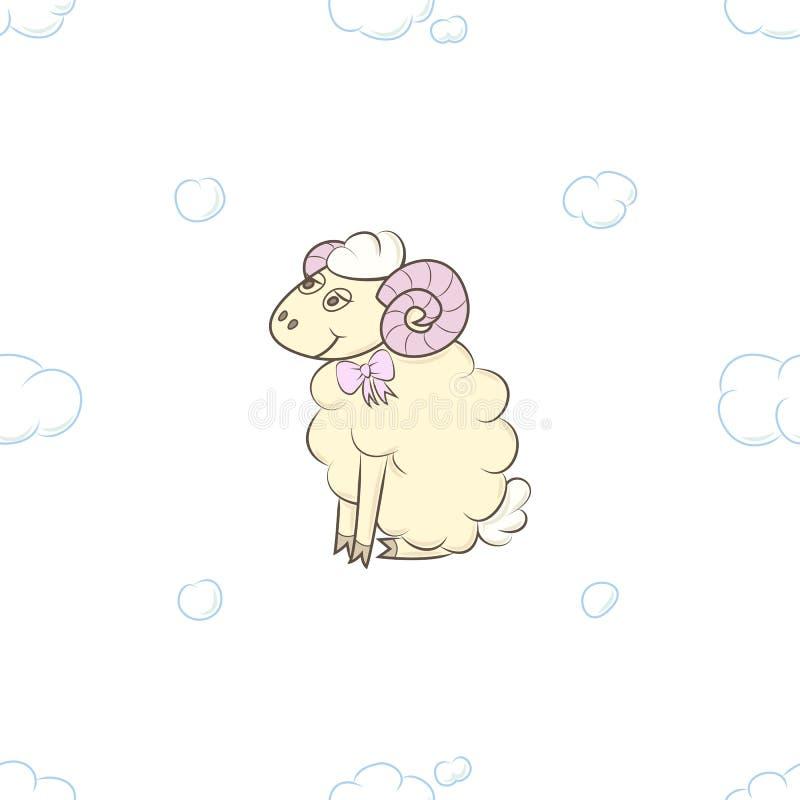Nettes Lammmädchen in den Wolken lizenzfreie abbildung