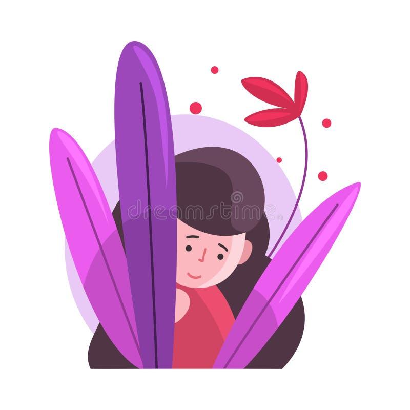 Nettes langhaariges Brunette Mädchen, das aus bunter dichter Gras-Vektor-Illustration heraus sich versteckt und späht lizenzfreie abbildung