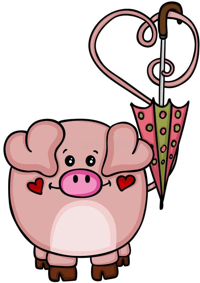 Nettes Liebesschwein mit Regenschirm stock abbildung