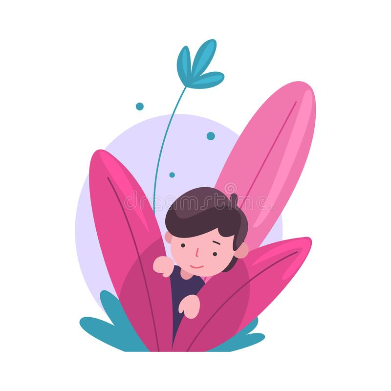 Nettes Little Boy, das in den Büschen, entzückendes Kind späht aus bunter dichter Gras-Vektor-Illustration heraus sich versteckt stock abbildung