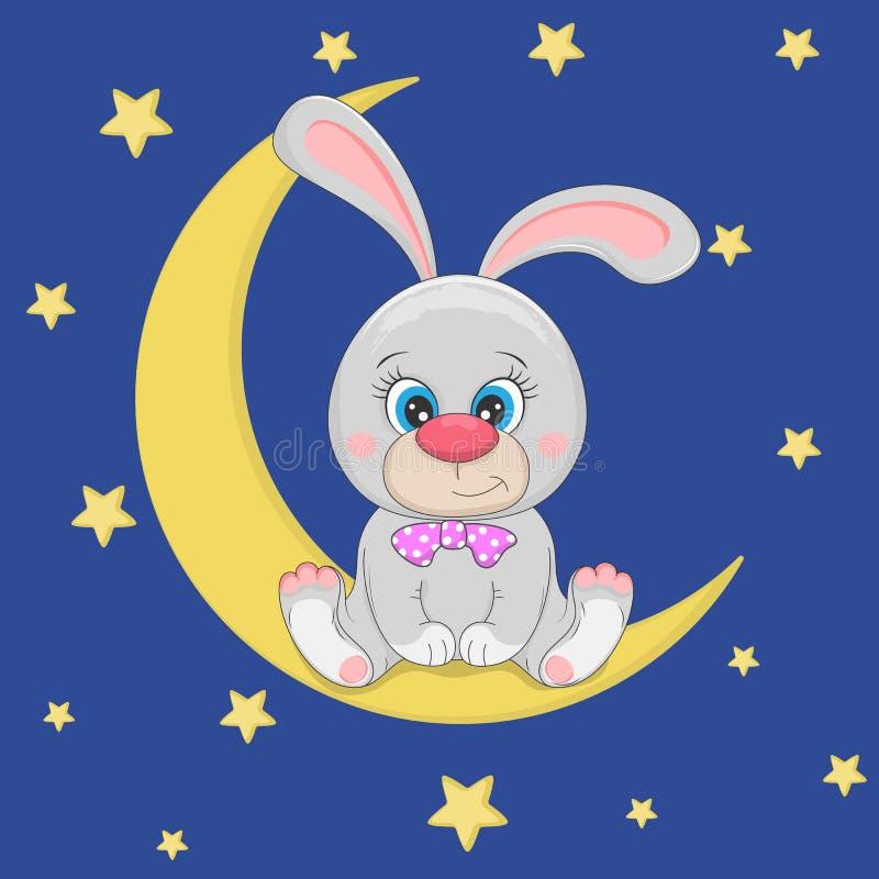 Nettes lustiges Karikaturhäschen sitzt auf dem Mond lizenzfreie abbildung