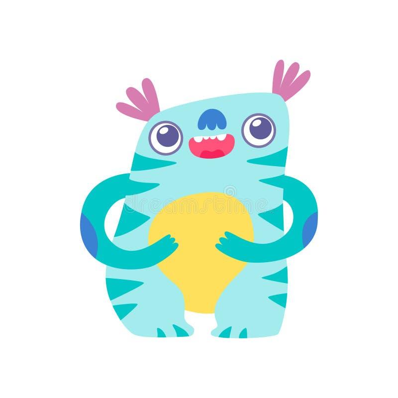 Nettes lustiges Monster, entzückende ausländische Zeichentrickfilm-Figur-fantastische Geschöpf-Vektor-Illustration vektor abbildung