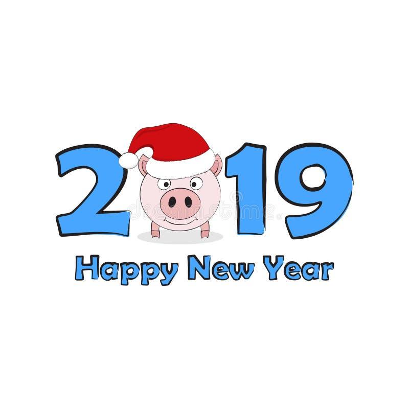Nettes lustiges Schwein in Sankt-Hut Symbol von Chinesischem Neujahrsfest 2019 Rosa piggy lokalisiert auf weißem Hintergrund Vekt stock abbildung