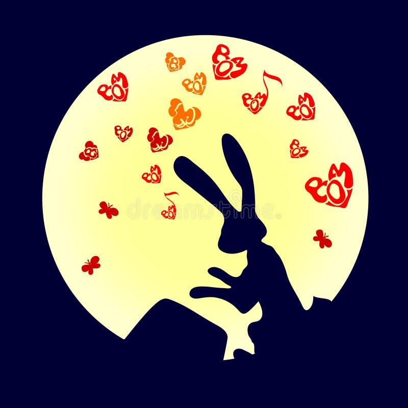 Nettes, lustiges Tier, Kaninchen ist ein Hase, der die Trommel Vektorillustration der Karikatur lokalisiert auf weißem Hintergrun stock abbildung