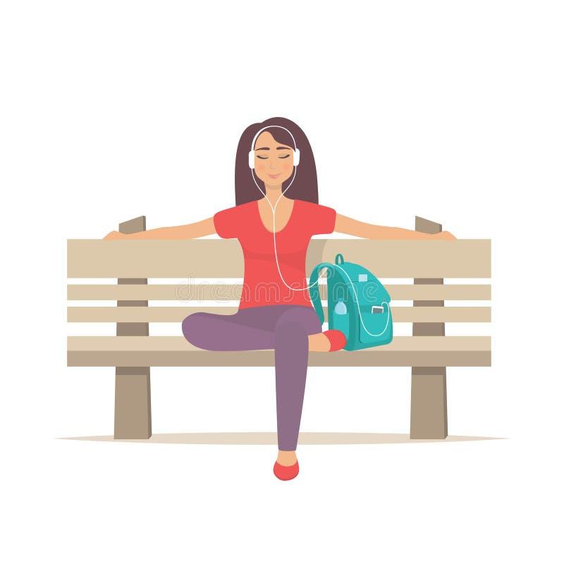 Nettes Mädchen, das auf einer Bank mit Kopfhörern sitzt und Musik hört Junge Frau, die Musik auf Parkbank genießt Auch im corel a lizenzfreie abbildung
