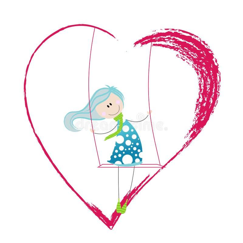 Nettes Mädchen auf heartshaped Schwingen lizenzfreie abbildung