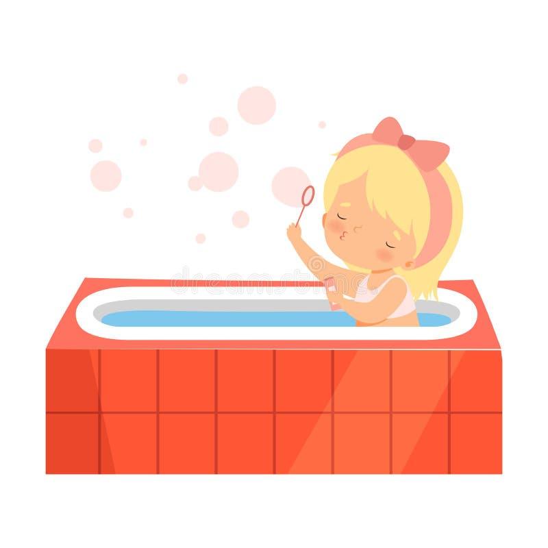 Nettes Mädchen, das Bad nimmt und mit Seifenblasen, entzückendes Kleinkind im Badezimmer, tägliche Hygiene-Vektor-Illustration sp vektor abbildung